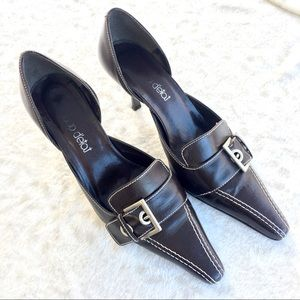 Coup D'etat Pointed Toe Buckle Brown Leather Heels